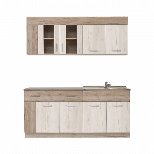 ΚΟΥΖΙΝΑ LEONA 180 GREY OAK/WHITE OAK 180*60/30*200